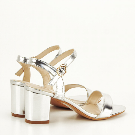 Sandale argintii cu toc Mira [5]