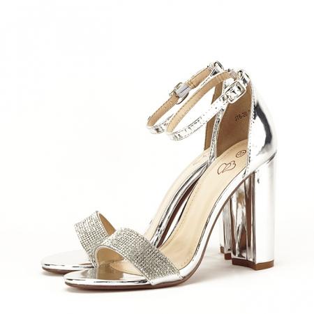 Sandale argintii cu toc gros Diana [2]