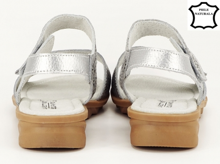 Sandale argintii din piele naturala Freda4