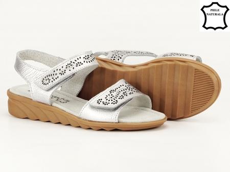 Sandale argintii din piele naturala Freda3