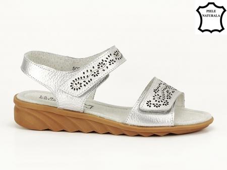 Sandale argintii din piele naturala Freda1