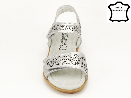 Sandale argintii din piele naturala Freda6