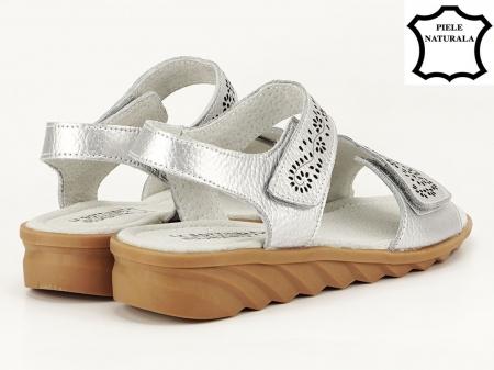 Sandale argintii din piele naturala Freda5