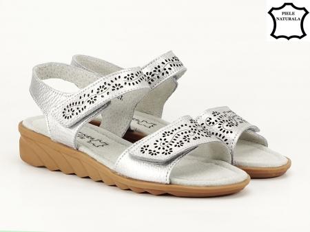 Sandale argintii din piele naturala Freda2