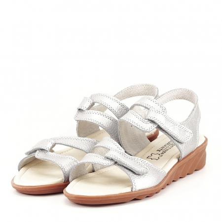 Sandale argintii din piele naturala Iasmina0