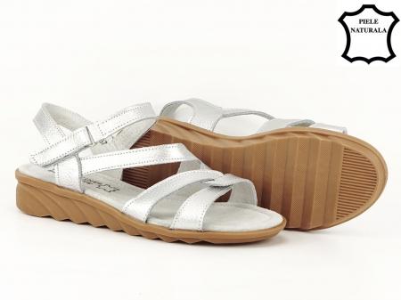 Sandale argintii din piele naturala Suzana2