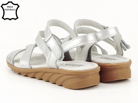 Sandale argintii din piele naturala Suzana5