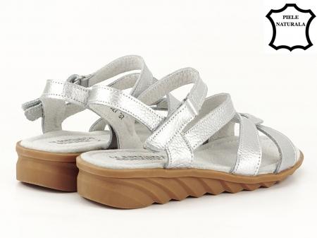 Sandale argintii din piele naturala Suzana3