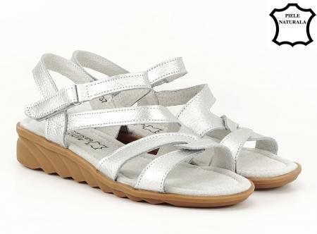 Sandale argintii din piele naturala Suzana1