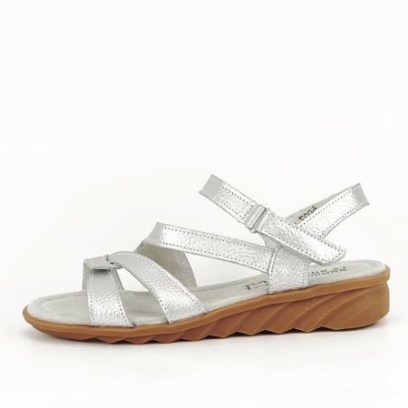 Sandale argintii din piele naturala Suzana0