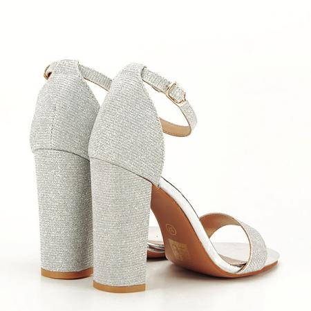 Sandale argintii elegante cu sclipici Simona [5]