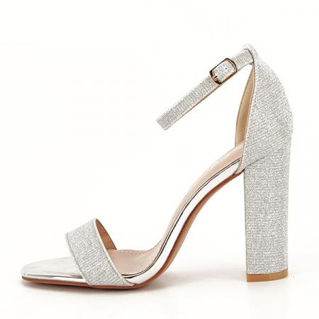 Sandale argintii elegante cu sclipici Simona [0]