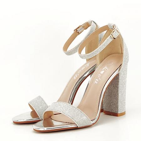 Sandale argintii elegante cu sclipici Simona [1]
