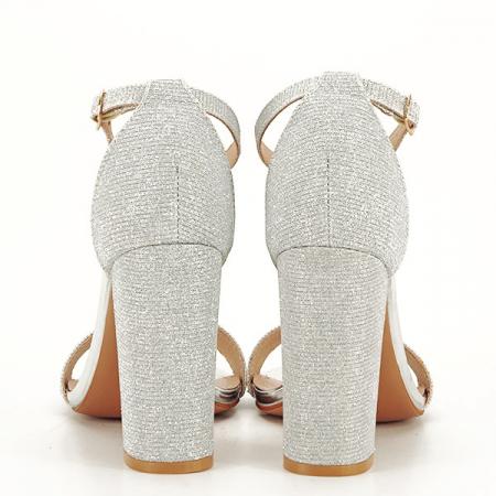 Sandale argintii elegante cu sclipici Simona [6]