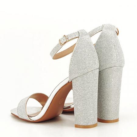 Sandale argintii elegante cu sclipici Simona [4]