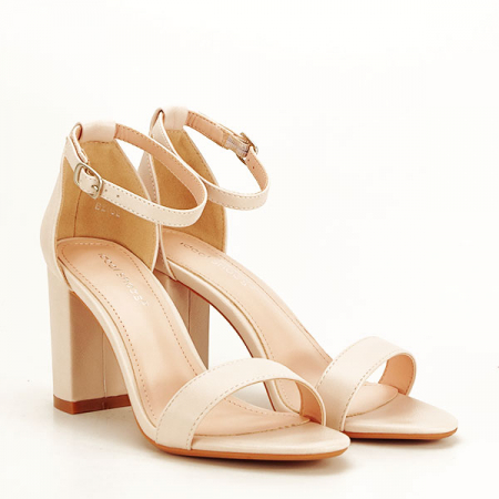 Sandale bej cu toc gros Ingrid [2]
