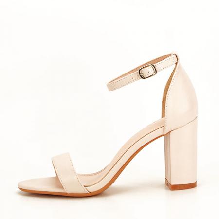 Sandale bej cu toc gros Ingrid [0]