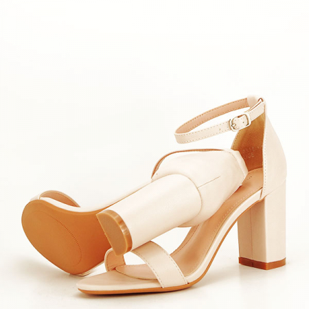 Sandale bej cu toc gros Ingrid [6]