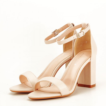 Sandale bej cu toc gros Ingrid [1]