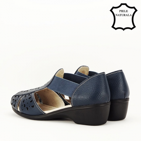 Sandale bleumarin din piele naturala Ozana5