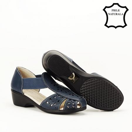 Sandale bleumarin din piele naturala Ozana4