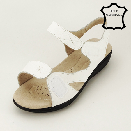 Sandale albe din piele naturala Sara1