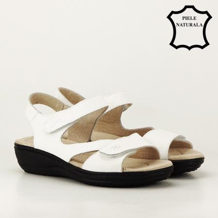 Sandale albe din piele naturala Sara5