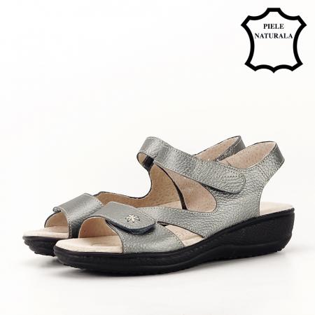 Sandale gri metalizat din piele naturala Sara [7]