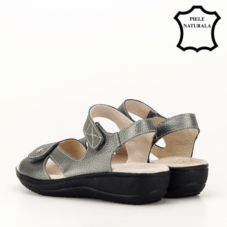 Sandale gri metalizat din piele naturala Sara [3]