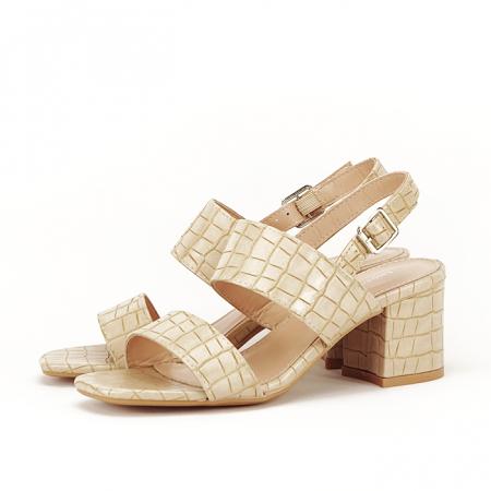 Sandale bej cu toc mic Edith [2]