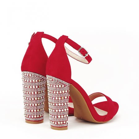 Sandale rosii cu pietricele pe toc Cleopatra [3]