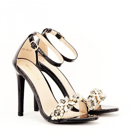 Sandale negre decorate cu pietre Gloria [2]