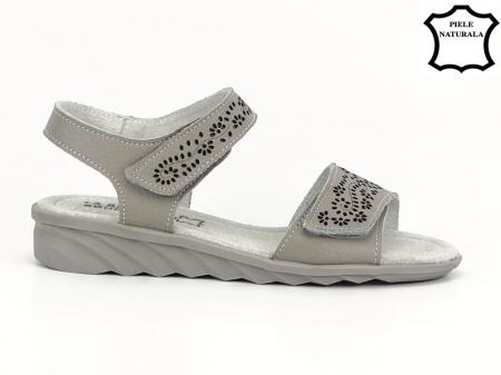 Sandale gri din piele naturala Freda1
