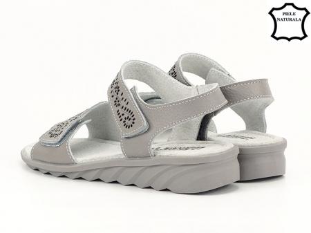 Sandale gri din piele naturala Freda5