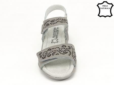 Sandale gri din piele naturala Freda3
