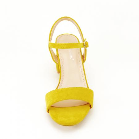 Sandale galben mustar cu toc mic Vanesa [3]