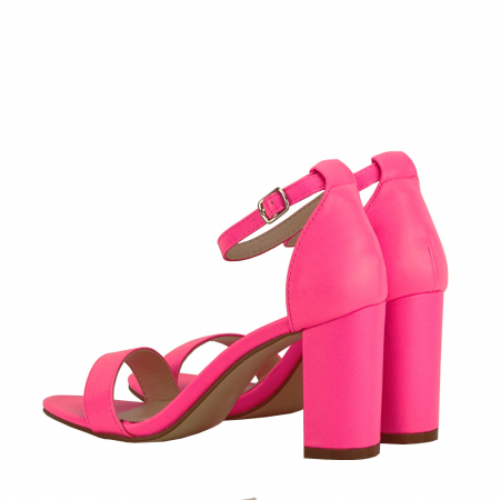 Sandale roz neon cu toc gros Ingrid [5]