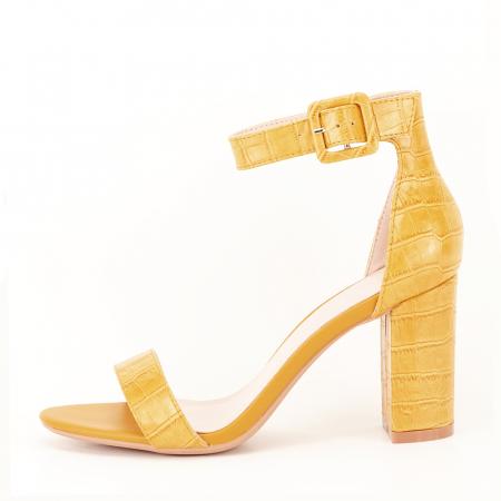 Sandale galben mustar cu imprimeu reptila Miruna [0]