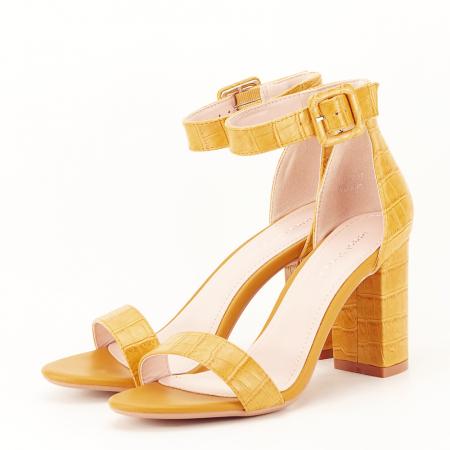 Sandale galben mustar cu imprimeu reptila Miruna [1]