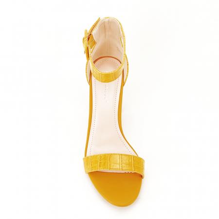 Sandale galben mustar cu imprimeu reptila Miruna [4]