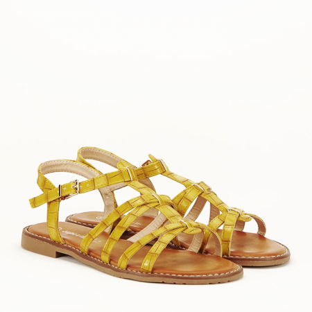 Sandale galbene cu talpa joasa Jeni6