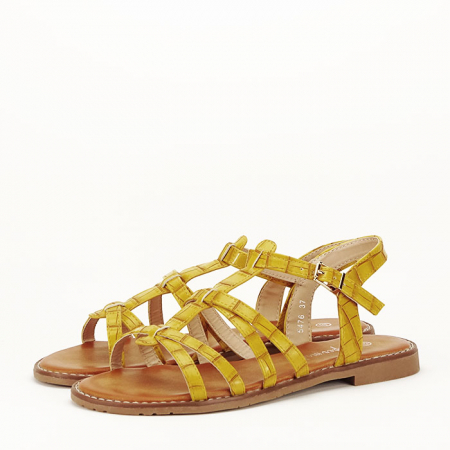 Sandale galbene cu talpa joasa Jeni0