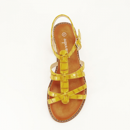 Sandale galbene cu talpa joasa Jeni2
