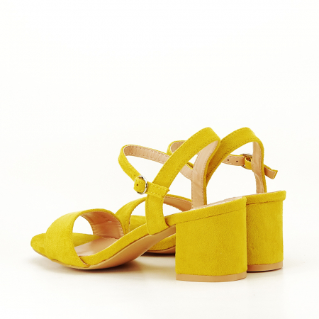 Sandale galben mustar cu toc mic Vanesa [7]