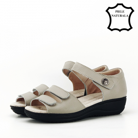 Sandale gri din piele naturala Agata1