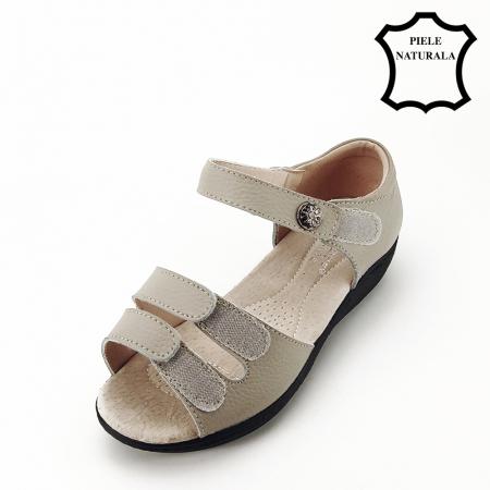 Sandale gri din piele naturala Agata5