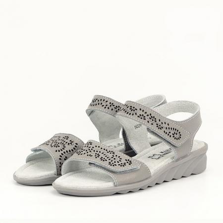 Sandale gri din piele naturala Freda0