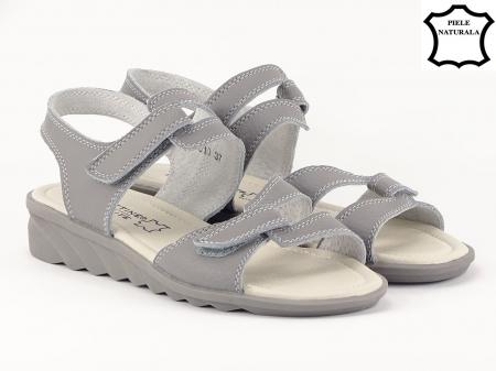 Sandale gri din piele naturala Iasmina2