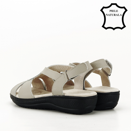 Sandale gri din piele naturala Mabel [6]