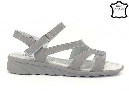 Sandale gri din piele naturala Suzana1